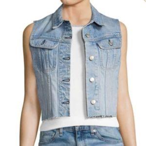Rag & Bone/JEAN Lou Light Wash Cropped Denim Vest